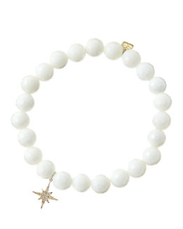 Sydney Evan 8mm Faceted White Agate Beaded Bracelet with 14k Gold/Diamond Small Starburst Charm (Made to Order)