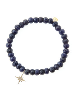 Sydney Evan Blue Sapphire Rondelle Beaded Bracelet with 14k Gold/Diamond Small Starburst Charm (Made to Order)