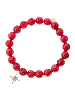 Sydney Evan Red Agate Beaded Bracelet with 14k Gold/Diamond Small Starburst Charm (Made to Order)