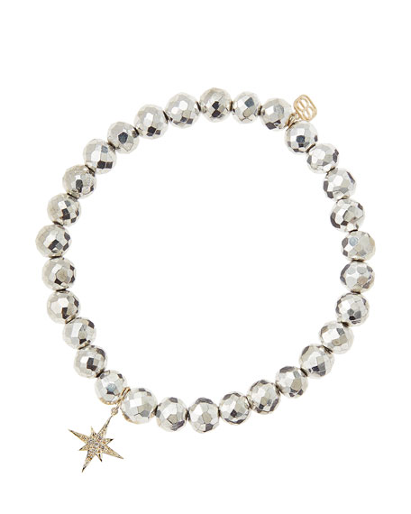 Silver Pyrite Beaded Bracelet with 14k Gold/Diamond Small Starburst Charm (Made to Order)