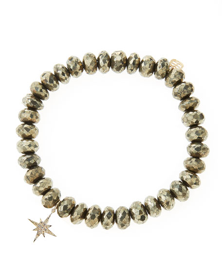 Champagne Pyrite Beaded Bracelet with 14k Gold/Diamond Small Starburst Charm (Made to Order)