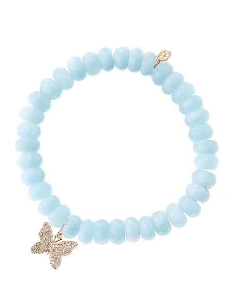 Aquamarine Beaded Bracelet with Diamond Butterfly
