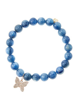 Sydney Evan Kyanite Round Beaded Bracelet with 14k Gold/Diamond Small Butterfly Charm (Made to Order)