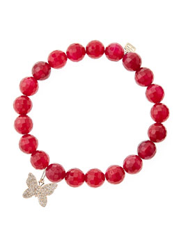 Sydney Evan Red Agate Beaded Bracelet with 14k Gold/Diamond Small Butterfly Charm (Made to Order)