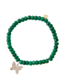 Sydney Evan Emerald Rondelle Beaded Bracelet with 14k Gold/Diamond Small Butterfly Charm (Made to Order)