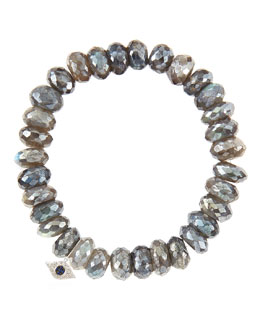 Sydney Evan 10mm Mystic Labradorite Beaded Bracelet with 14k White Gold/Diamond Small Evil Eye Charm (Made to Order)