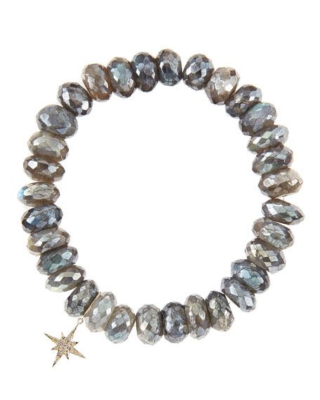 10mm Mystic Labradorite Beaded Bracelet with 14k Gold/Diamond Small Starburst Charm (Made to Order)