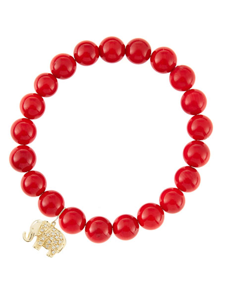 8mm Red Coral Beaded Bracelet with 14k Gold/Diamond Small Elephant Charm (Made to Order)