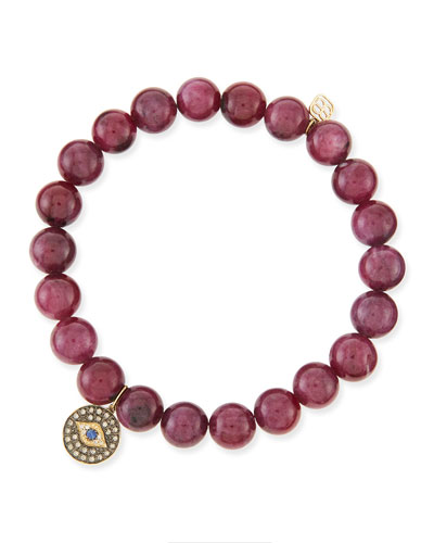 8mm Ruby Bead Bracelet with Evil Eye Charm