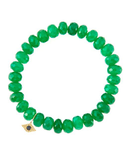 Sydney Evan 8mm Faceted Green Onyx Beaded Bracelet with 14k Yellow Gold/Diamond Small Evil Eye Charm (Made to Order)