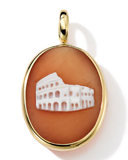 18k Gold Oval Colosseum Cameo Charm