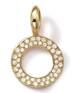 18k Gold Circle Charm with Diamonds