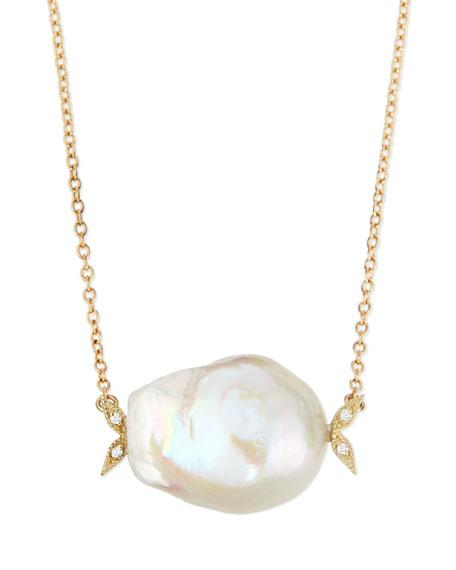 Mizuki 14k Gold Diamond Leaf & White Pearl