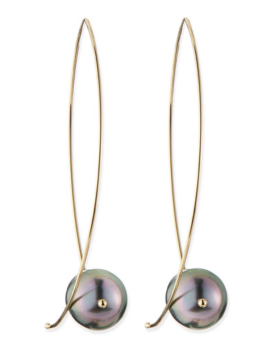 14k Gold Black Tahitian Pearl Earrings