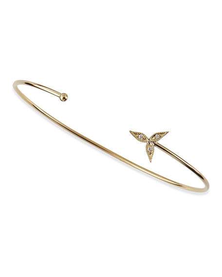 Mizuki 14k Gold Cuff with 1-Diamond End Caps rrXR8