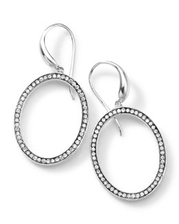 Ippolita Silver Rock Star Medium Oval Frame Earrings with Diamonds