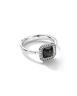 Ippolita Sterling Silver Stella Square Black Shell Ring with Diamonds