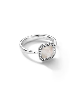 Ippolita Sterling Silver Stella Square Mother-of-Pearl Ring with Diamonds