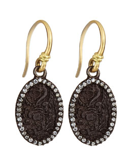 Old World Carved Oval Earrings with Diamonds