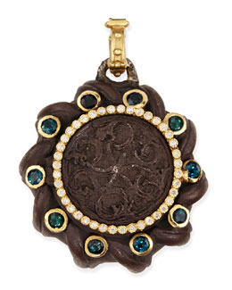 Armenta Old World Spiral Coin Locket with Tourmaline & Diamonds