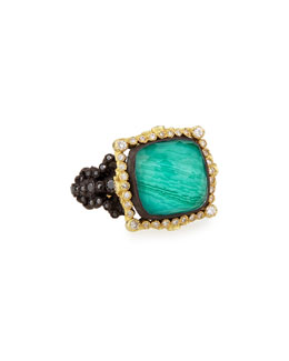 Old World White Diamond Ring with Malachite/Blue Topaz, Size 6.5