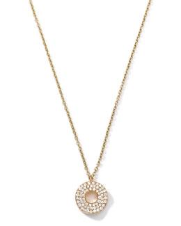 Ippolita 18k Gold Mini Stardust Wavy Disc Drop Necklace with Diamonds (0.22 ctw)