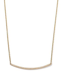 18k Gold Stardust Curved Stick Necklace with Diamonds