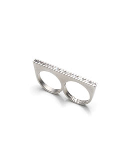 Two-Finger Ring with Crystals