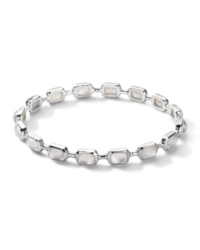 Sterling Silver Rock Candy Multi-Stone Bangle in Mother-of-Pearl Doublet