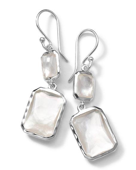 Sterling Silver Wonderland Rectangular Mini-Drop Earrings in Mother-of-Pearl Doublet