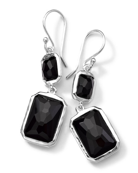 Sterling Silver Wonderland Rectangular Mini-Drop Earrings in Onyx