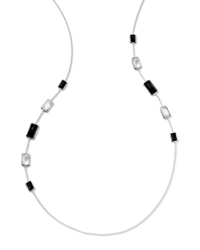 """Sterling Silver Wonderland Rectangular 10-Stone Graduated Station Necklace in Astaire, 34"""""""