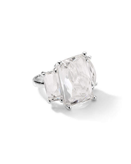 Sterling Silver 3-Stone Large Rectangle Cocktail Ring in Clear Quartz