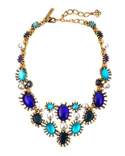 Aqua Star Resin Bib Necklace