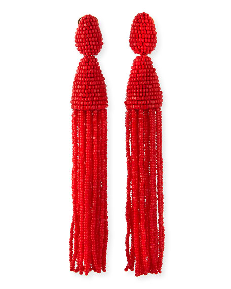 Long Beaded Tassel Earrings, Red