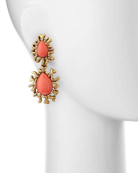 Coral Branch Cabochon Earrings
