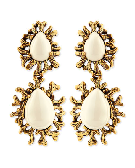 Ivory Branch Cabochon Clip Earrings