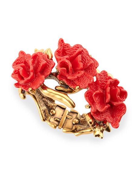 Red Coral-Motif Hinge Bracelet