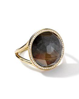 18k Gold Rock Candy Lollipop Ring, Quartz/Hematite/Diamonds