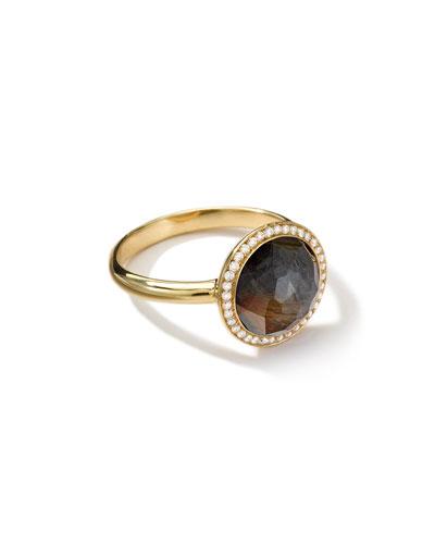 18K Rock Candy Mini Lollipop Ring in Hematite with Diamonds
