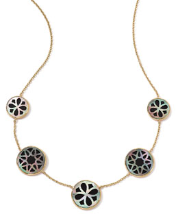Ippolita 18K Gold Polished Rock Candy Cutout Stone 5-Station Necklace in Phantom, 16-18""
