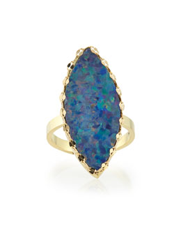 Frosted Boulder Opal Ring with Chain Detail