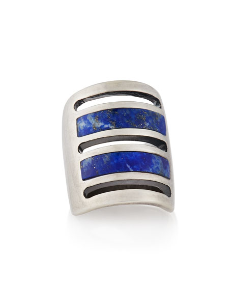 SILVER LAPIS INLAY PATH RING