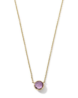 18K Gold Mini-Lollipop Birthstone Necklace (February), 16-18