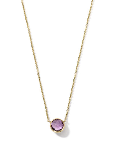 18K Gold Mini-Lollipop Birthstone Necklace (February), 16-18""