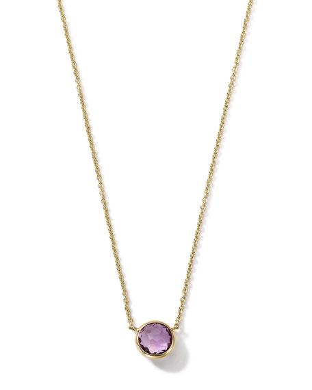 "18K Gold Mini-Lollipop Birthstone Necklace (February), 16-18"""