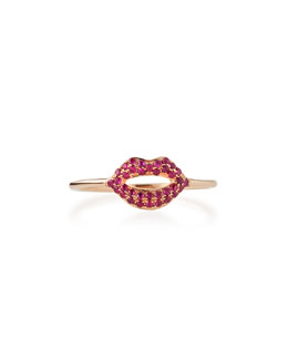 14k Rose Gold Ruby Lips Ring
