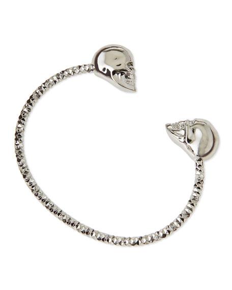 Twin Skull Silvertone Bracelet