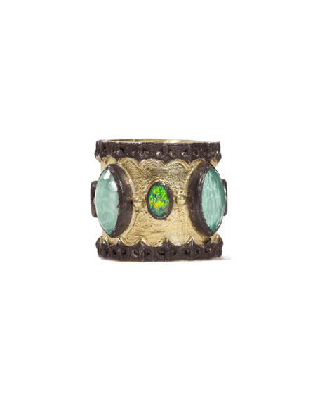 Green Turquoise & Opal Band Ring