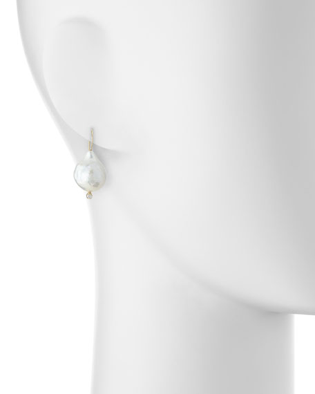 14k Gold Pearl & Diamonds Earrings